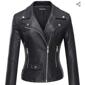 Black Faux Leather Moto Jacket Coat XS S MED XL 2X